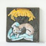 Ninnie 陶板 猫を抱く女の子 Ninnie Forsgren スウェーデン製