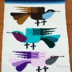 織りのタペストリー ランナー 3羽の小鳥 ヴィンテージ フィンランド製