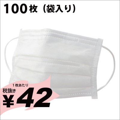 【在庫あり即納】使い捨てマスク(ホワイト50枚袋入)100枚(50枚 x 2袋) 《ご入金確認後3〜5営業日で出荷》
