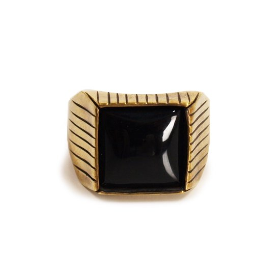 CLUCT BRASS ONXY RING