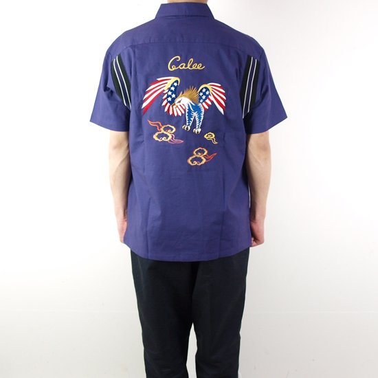 CALEE 【SALE】EAGLE EMBROIDERY S/S BOWLING SHIRT