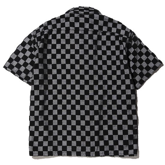 CALEE JACQUARD PILE S/S CHECKER PATTERN SHIRT