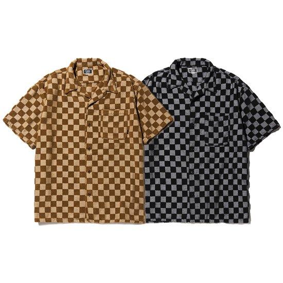 【CALEE】JACQUARD PILE S/S CHECKER PATTERN SHIRT【オープンシャツ】