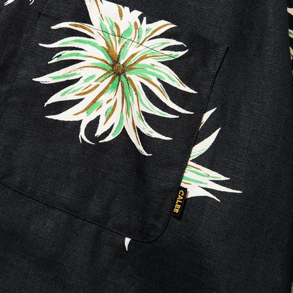 CALEE ALLOVER FLOWER PATTERN LINEN NO COLLAR L/S SHIRT