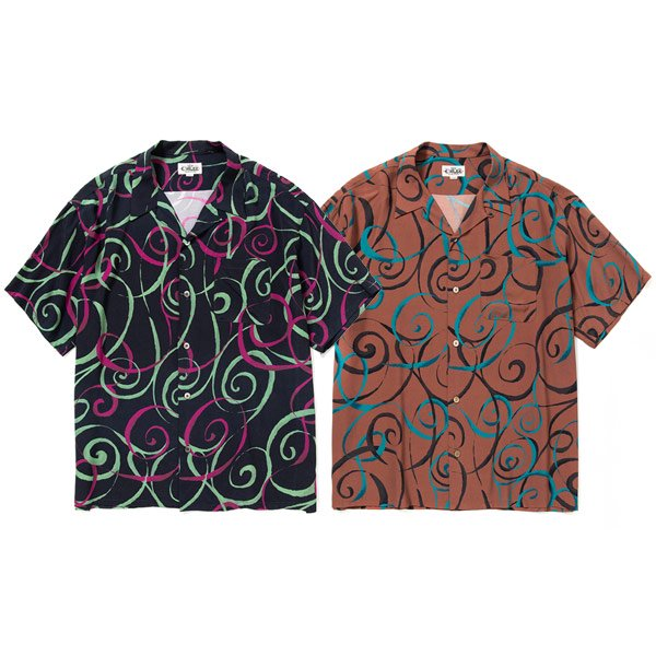 CALEE ALLOVER SPIRAL PATTERN S/S SHIRT