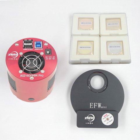 ASI1600MMPro+Miniフィルターホイール+31mmLRGBフィルター キット