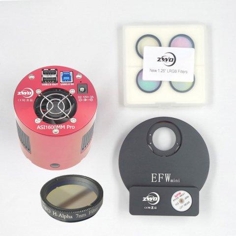 ASI1600MMPro+Miniフィルターホイール+1.25インチLRGB+Hαナローバンドフィルター キット