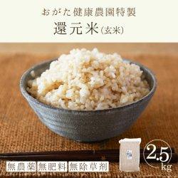還元米-ヒノヒカリ玄米(おがた健康農園特製 無農薬・無肥料栽培)2.5kg-2019年秋収穫