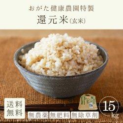 還元米-朝日玄米15kg(おがた健康農園-熊本県産)無農薬・無肥料栽培【2020年度産新米】【送料無料】