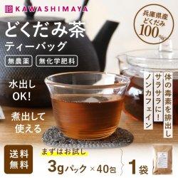 無農薬 無施肥 どくだみ茶 ティーバッグ 3g×40包×1袋 兵庫県産 |煮出して家族で 【送料無料】*メール便での発送*_k3