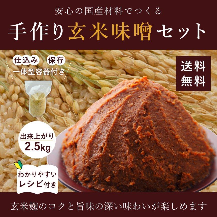 手作り玄米味噌セット-2.5kg分(国産無農薬大豆、有機玄米麹、天日塩、仕込み袋)