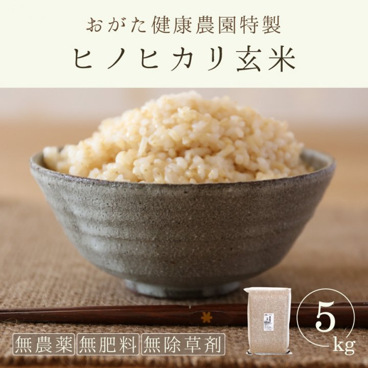 ヒノヒカリ玄米(おがた健康農園特製 無農薬・無肥料栽培)5kg-29年産新米-