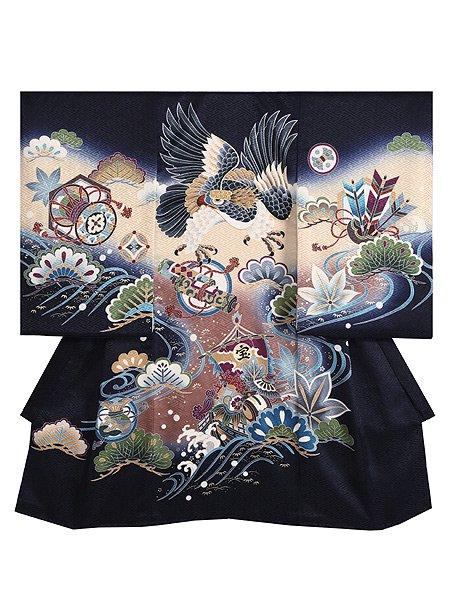 【男児お宮参りレンタル初着(産着)】B79正絹紺地 鷹 宝船【往復送料無料】