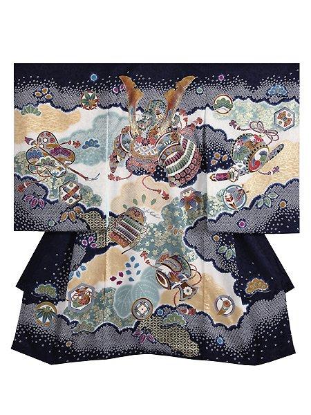 【男児お宮参りレンタル初着(産着)】B82 正絹濃紺地  兜【往復送料無料】