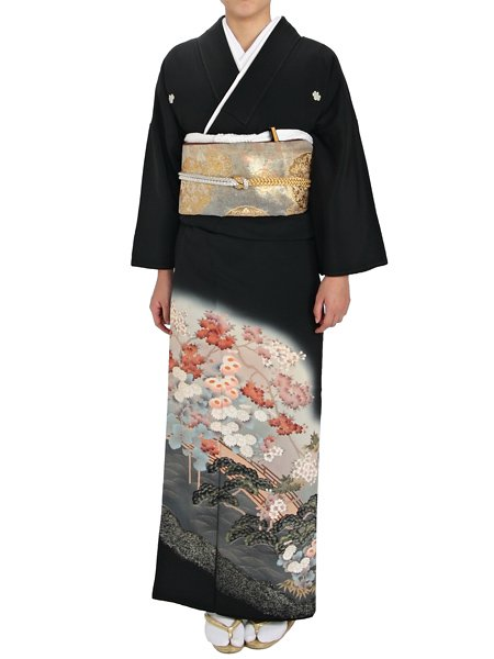 【黒留袖の宅配レンタル】 612 小花に橋 松【往復送料無料】60代