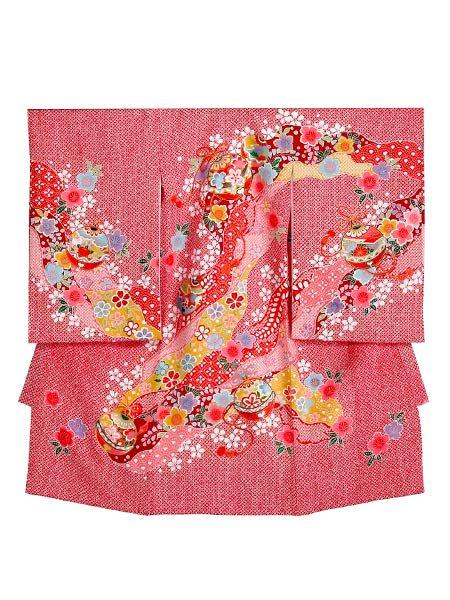 【女児お宮参りレンタル初着(産着)】G6 正絹赤地絞り柄【往復送料無料】