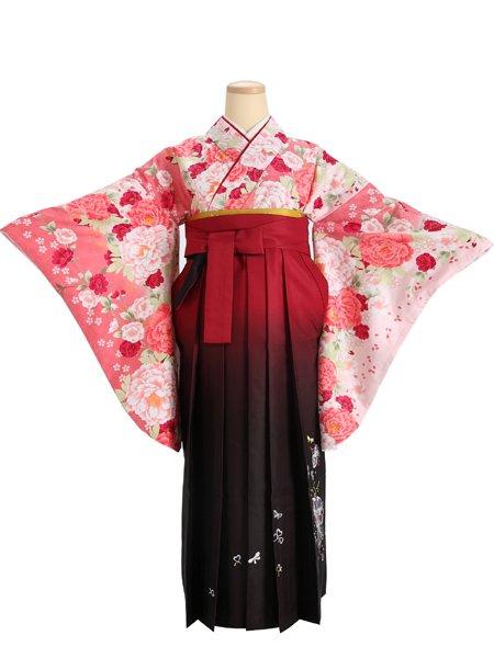 【卒業式着物・袴】G5650 ピンク花・ワインぼかし 【往復送料無料】