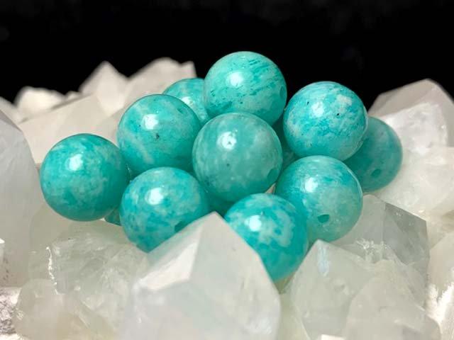 天然石AAアマゾナイト【ペルー産】 粒売 6ミリ~10ミリ
