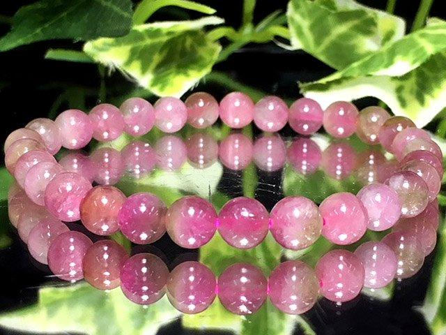 1点物AAA天然ピンクトルマリン【電気石】 6ミリ 数珠 PIK-T-2