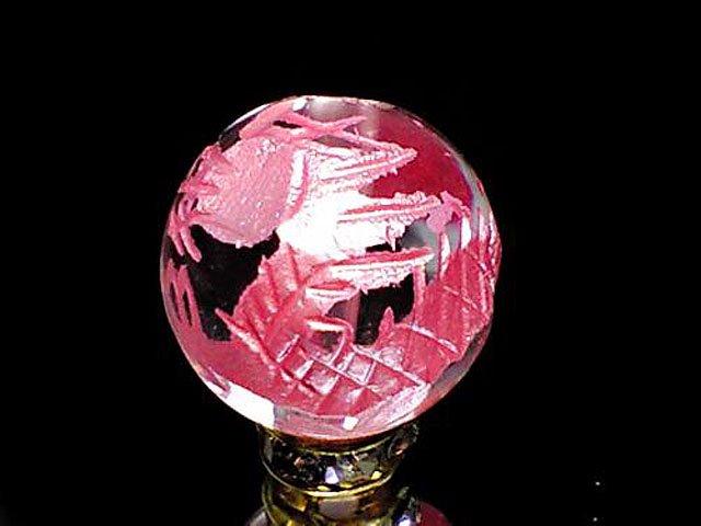 ピンク彫四神獣【青龍】本水晶 10ミリ〜14ミリ