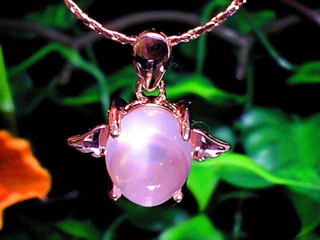 美麗天然石ローズクォーツ 天使の羽ペンダント【ピンクゴールド】 (40センチ チェーン付)
