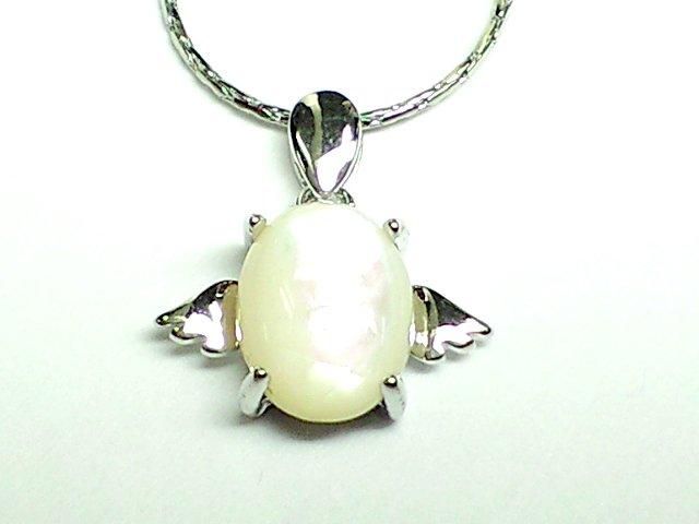 美麗天然石マザーオブパール 天使の羽ペンダント【シルバー】 (40センチ チェーン付)
