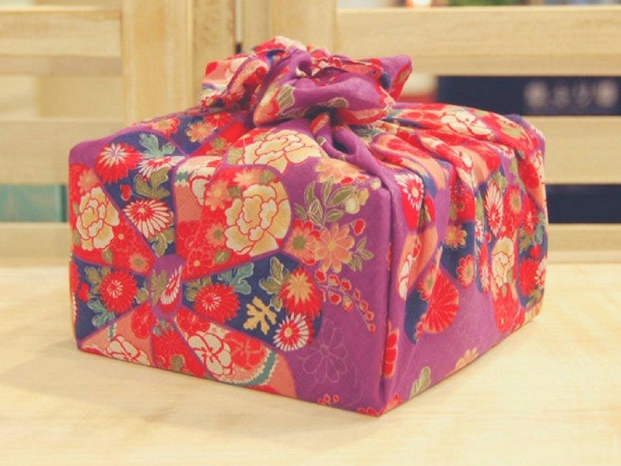 【バラ風呂】風呂敷 花包み-紫-set