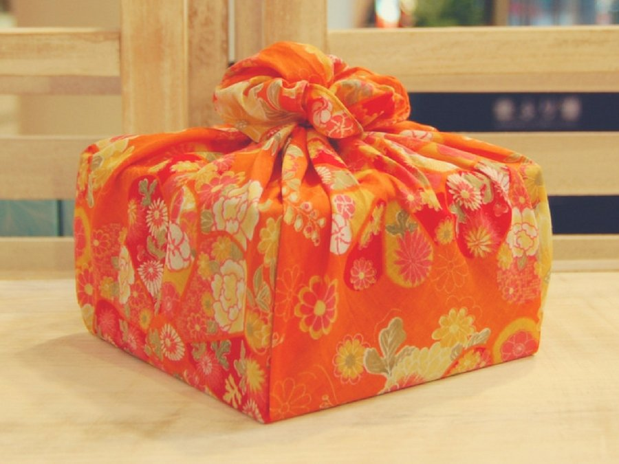 【バラ風呂】風呂敷 花包み-橙-set