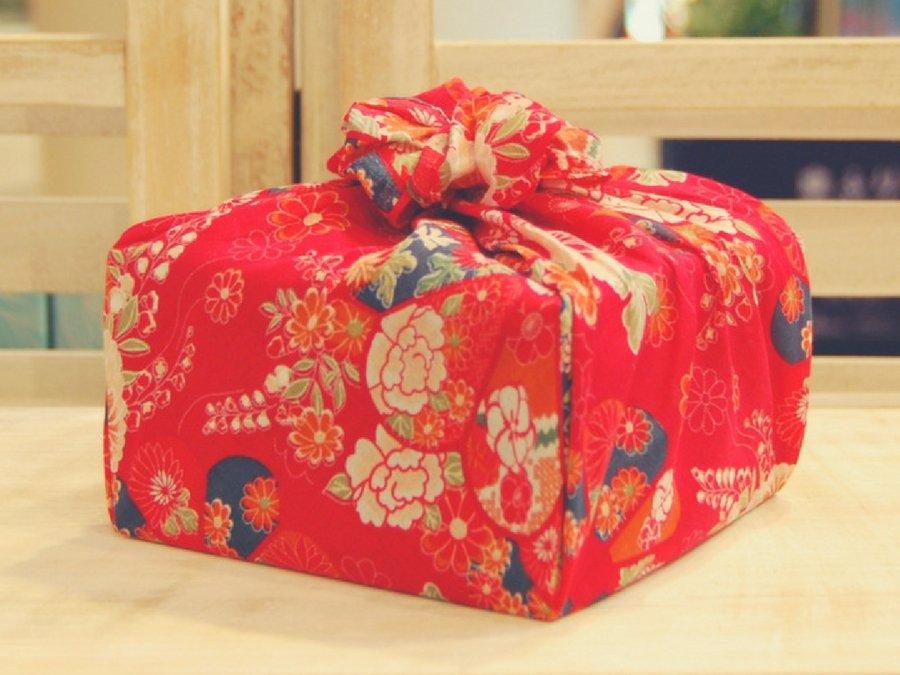【バラ風呂】風呂敷 花包み-赤-set