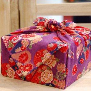 【バラ風呂セット】コローレ 風呂敷 お使い包み-紫-