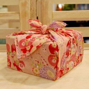 【バラ風呂セット】コローレ 風呂敷 お使い包み-桃-