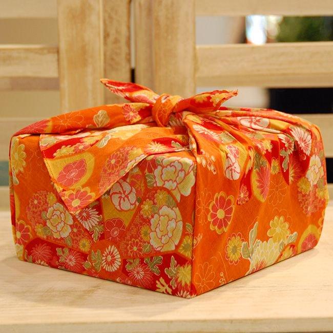 【バラ風呂】風呂敷 お使い包み-橙-set