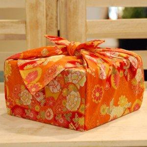 【バラ風呂セット】コローレ 風呂敷 お使い包み-橙-