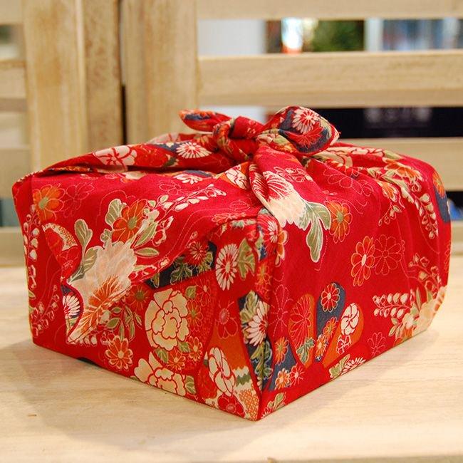 【バラ風呂】風呂敷 お使い包み-赤-set