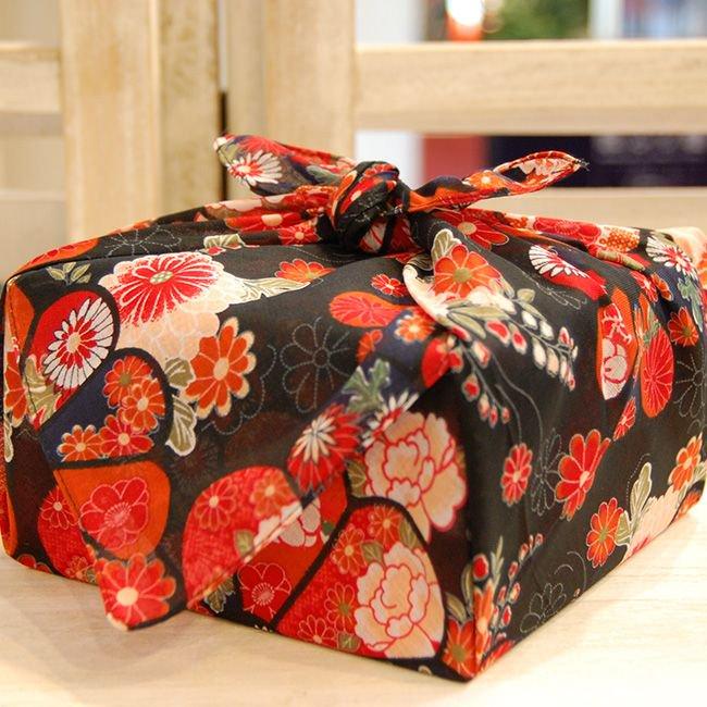 【バラ風呂】風呂敷 お使い包み-黒-set