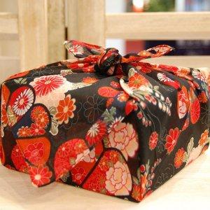 【バラ風呂セット】コローレ 風呂敷 お使い包み-黒-