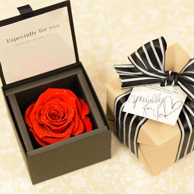 【メッセージフラワー】Diamond Rose size M-red-