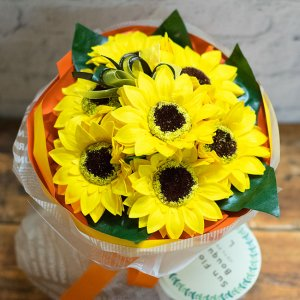 【お花の入浴剤バスフレグランスソープ】ヒマワリブーケ[size L]