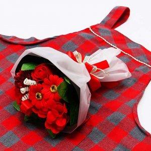 【お花の入浴剤バスフレグランスソープ】ミックスブーケRed[size M]とエプロンset