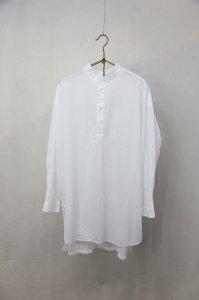 prit - 80/1ローン 長袖スタンドカラープルオーバーワイドロングシャツ(Ladies)