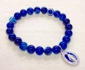 藍紋メノウ メダイ付きブレスレット