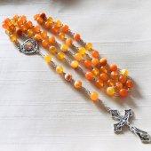 オレンジボツワナアゲート×オレンジカルサイト 十字架ロザリオ
