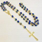 七宝焼き 十字架ロザリオ(青)