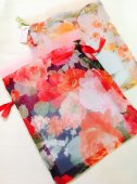 【ハンドメイド】花柄オーガンジー巾着袋