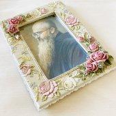 聖コルベ神父 額縁 花柄ライトグリーン