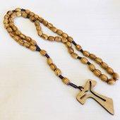 紐編み 木製 十字架ロザリオ