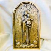 アーチ型 聖母子レリーフ(室内用36cm)金色仕上げ