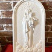 アーチ型 聖母子レリーフ(室内用36cm)白色仕上げ