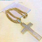 袋つき 十字架ネックレス ゴールド