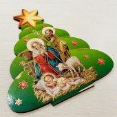 木製 聖家族(クリスマスツリー型)卓上ご絵